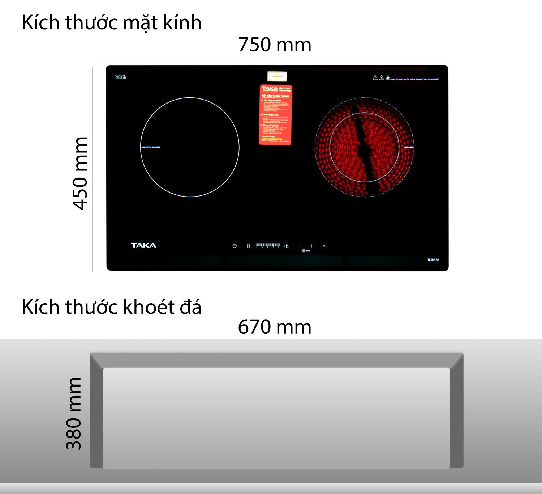 kích thước bếp điện từ Taka TKIR626